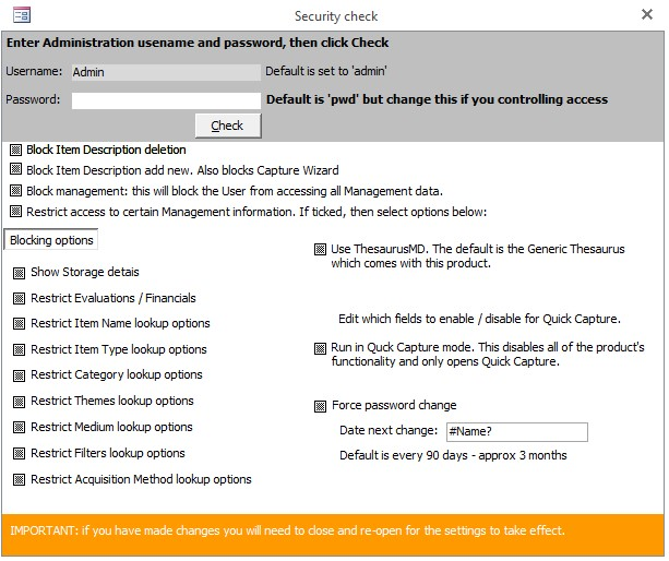 Diagram 1: security form when opened