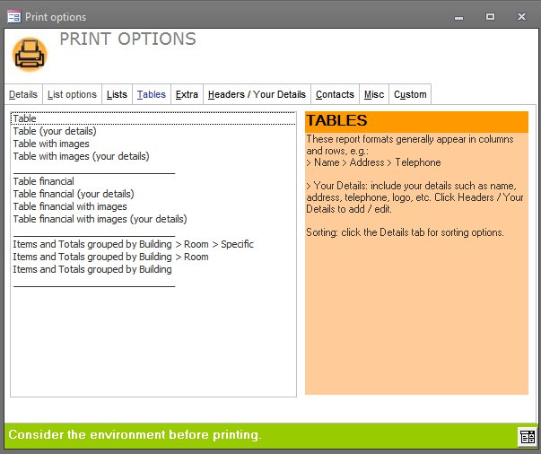Click the image for a view of: Table reports with various options such as including financial data