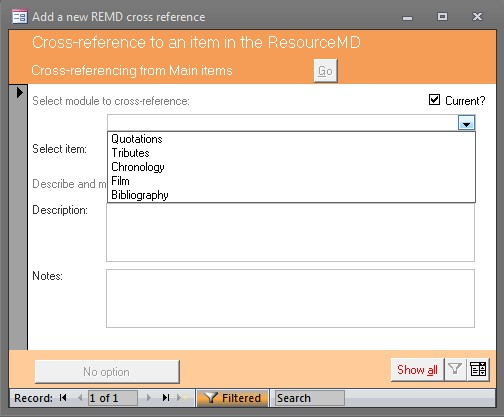 Click the image for a view of: Cross-referencing within the ResourceMD
