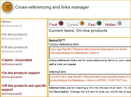 Click the image for a view of: Cross-reference and links manager