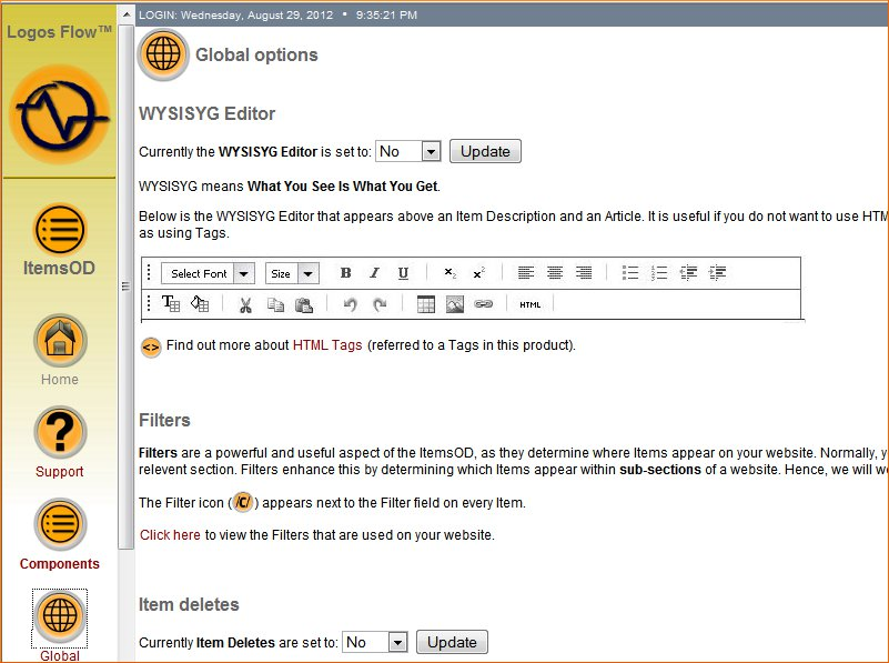 Click the image for a view of: Global area to switch WYSIWYS Editor on / off, etc.
