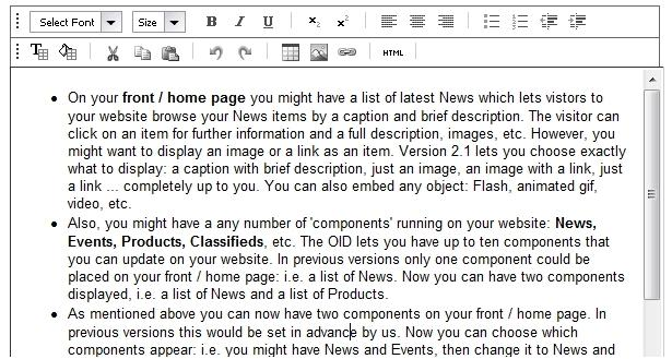 Click the image for a view of: The WYSIWYG editor option