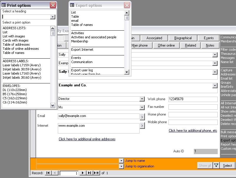 Click the image for a view of: Print and Export output options