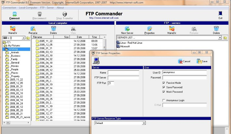 Click the image for a view of: Screenshot of FTP Commander where you enter your session details